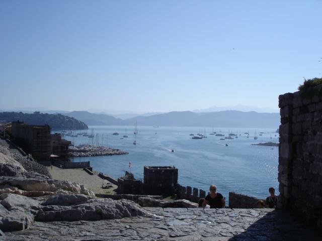 Boats in the sea off the coast of portovenere